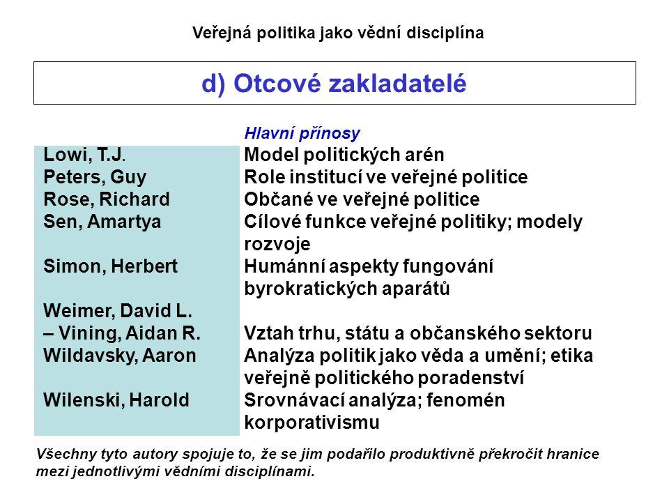 Veřejná politika jako vědní disciplína d) Otcové zakladatelé Hlavní přínosy Lowi, T.J.