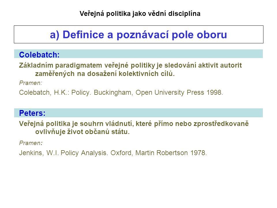 a) Definice a poznávací pole oboru Colebatch: Základním paradigmatem veřejné politiky je sledování aktivit autorit zaměřených na dosažení kolektivních cílů.