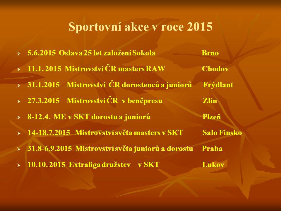 Sportovní akce v roce 2015   5.6.2015 Oslava 25 let založení Sokola Brno   11.1. 2015 Mistrovství ČR masters RAW Chodov   31.1.2015 Mistrovství