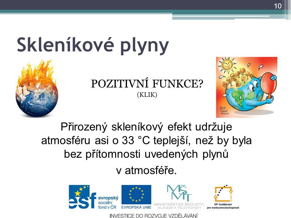 Skleníkové plyny POZITIVNÍ FUNKCE? (KLIK) 10 Přirozený skleníkový efekt udržuje atmosféru asi o 33 °C teplejší, než by byla bez přítomnosti uvedených