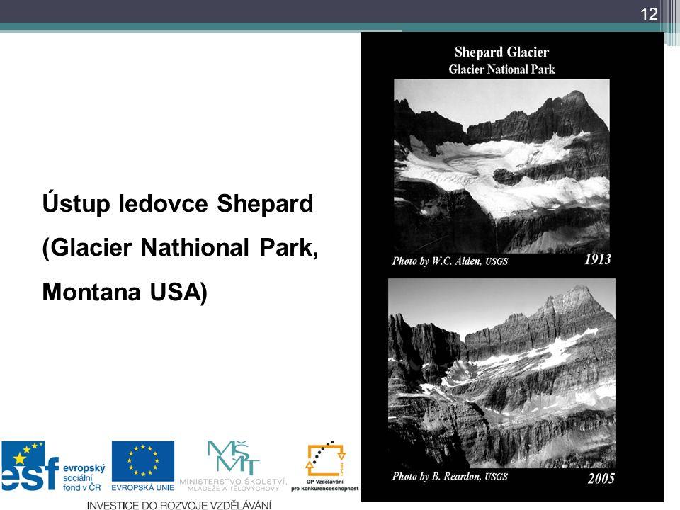 12 Ústup ledovce Shepard (Glacier Nathional Park, Montana USA) 1910 1931 1997