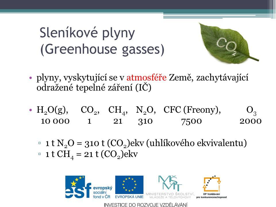 plyny, vyskytující se v atmosféře Země, zachytávající odražené tepelné záření (IČ) H 2 O(g), CO 2, CH 4, N 2 O, CFC (Freony), O 3 10 000 1 21 310 7500 2000 ▫ 1 t N 2 O = 310 t (CO 2 )ekv (uhlíkového ekvivalentu) ▫ 1 t CH 4 = 21 t (CO 2 )ekv 4 Sleníkové plyny (Greenhouse gasses)