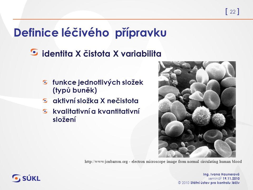 [ 22 ] Ing. Ivana Haunerová seminář 19.11.2010 © 2010 Státní ústav pro kontrolu léčiv Definice léčivého přípravku identita X čistota X variabilita fun