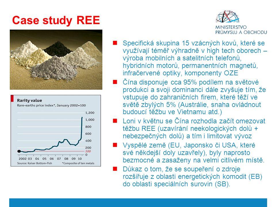 Case study REE Specifická skupina 15 vzácných kovů, které se využívají téměř výhradně v high tech oborech – výroba mobilních a satelitních telefonů, hybridních motorů, permanentních magnetů, infračervené optiky, komponenty OZE Čína disponuje cca 95% podílem na světové produkci a svoji dominanci dále zvyšuje tím, že vstupuje do zahraničních firem, které těží ve světě zbylých 5% (Austrálie, snaha ovládnout budoucí těžbu ve Vietnamu atd.) Loni v květnu se Čína rozhodla začít omezovat těžbu REE (uzavírání neekologických dolů + nebezpečných dolů) a tím i limitovat vývoz Vyspělé země (EU, Japonsko či USA, které své někdejší doly uzavřely), byly naprosto bezmocné a zasaženy na velmi citlivém místě.