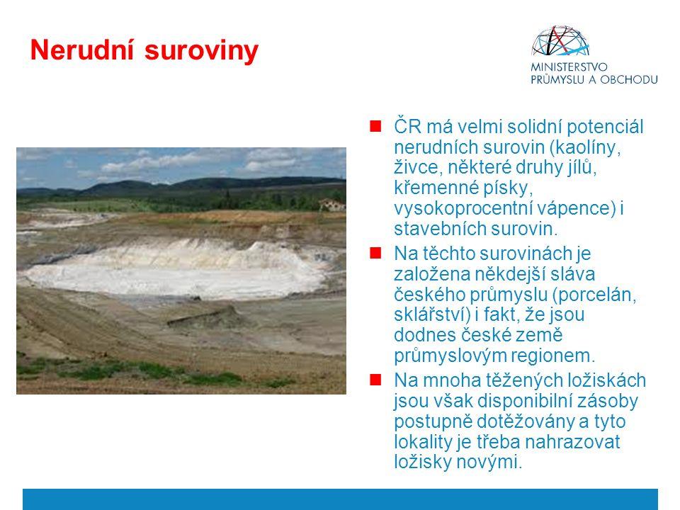 Nerudní suroviny ČR má velmi solidní potenciál nerudních surovin (kaolíny, živce, některé druhy jílů, křemenné písky, vysokoprocentní vápence) i stavebních surovin.