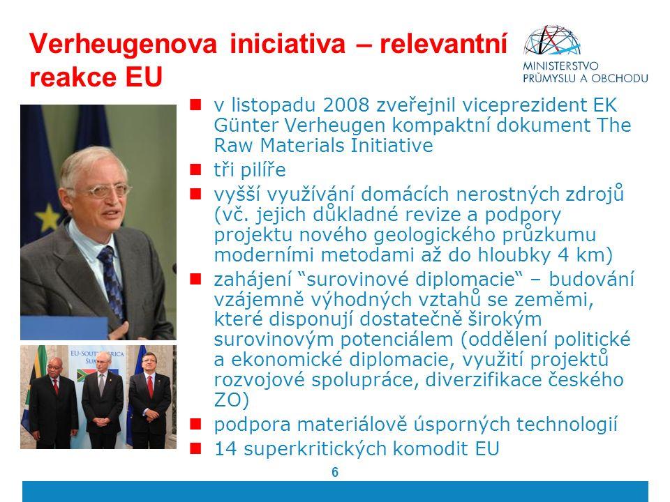 6 Verheugenova iniciativa – relevantní reakce EU v listopadu 2008 zveřejnil viceprezident EK Günter Verheugen kompaktní dokument The Raw Materials Initiative tři pilíře vyšší využívání domácích nerostných zdrojů (vč.