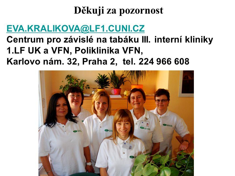 Děkuji za pozornost EVA.KRALIKOVA@LF1.CUNI.CZ Centrum pro závislé na tabáku III.