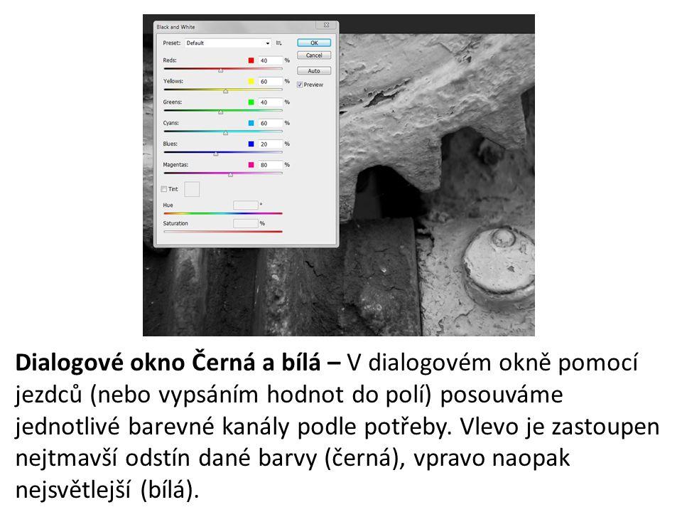 Dialogové okno Černá a bílá – V dialogovém okně pomocí jezdců (nebo vypsáním hodnot do polí) posouváme jednotlivé barevné kanály podle potřeby.