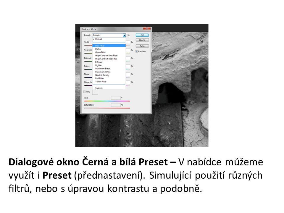 Dialogové okno Černá a bílá Preset – V nabídce můžeme využít i Preset (přednastavení).