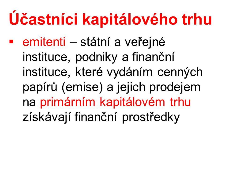Účastníci kapitálového trhu  emitenti – státní a veřejné instituce, podniky a finanční instituce, které vydáním cenných papírů (emise) a jejich prodejem na primárním kapitálovém trhu získávají finanční prostředky