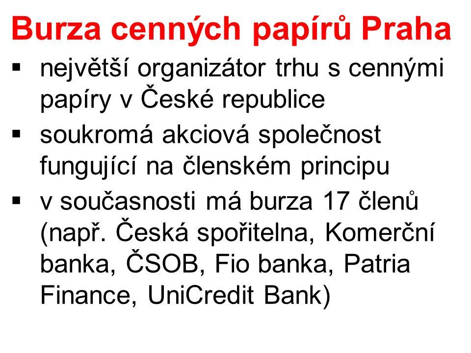  největší organizátor trhu s cennými papíry v České republice  soukromá akciová společnost fungující na členském principu  v současnosti má burza 17 členů (např.