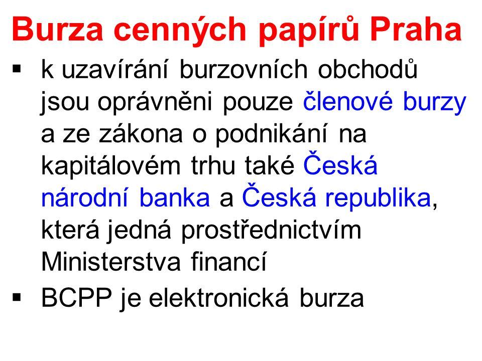 Burza cenných papírů Praha  k uzavírání burzovních obchodů jsou oprávněni pouze členové burzy a ze zákona o podnikání na kapitálovém trhu také Česká národní banka a Česká republika, která jedná prostřednictvím Ministerstva financí  BCPP je elektronická burza