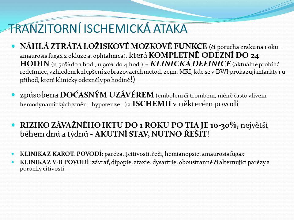 TRANZITORNÍ ISCHEMICKÁ ATAKA NÁHLÁ ZTRÁTA LOŽISKOVÉ MOZKOVÉ FUNKCE (či porucha zraku na 1 oku = amaurosis fugax z okluze a. ophtalmica), která KOMPLET