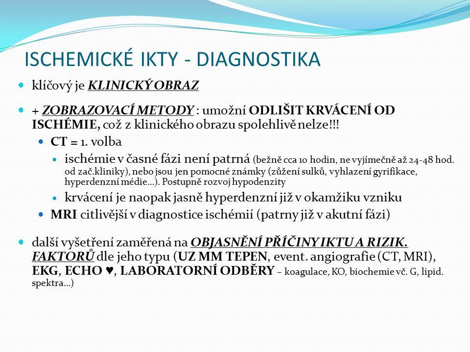 ISCHEMICKÉ IKTY - DIAGNOSTIKA klíčový je KLINICKÝ OBRAZ + ZOBRAZOVACÍ METODY : umožní ODLIŠIT KRVÁCENÍ OD ISCHÉMIE, což z klinického obrazu spolehlivě