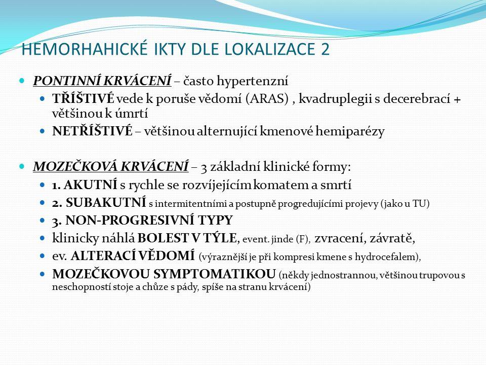 HEMORHAHICKÉ IKTY DLE LOKALIZACE 2 PONTINNÍ KRVÁCENÍ – často hypertenzní TŘÍŠTIVÉ vede k poruše vědomí (ARAS), kvadruplegii s decerebrací + většinou k úmrtí NETŘÍŠTIVÉ – většinou alternující kmenové hemiparézy MOZEČKOVÁ KRVÁCENÍ – 3 základní klinické formy: 1.
