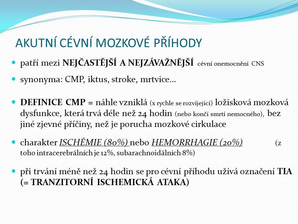 AKUTNÍ CÉVNÍ MOZKOVÉ PŘÍHODY patří mezi NEJČASTĚJŠÍ A NEJZÁVAŽNĚJŠÍ cévní onemocnění CNS synonyma: CMP, iktus, stroke, mrtvice... DEFINICE CMP = náhle