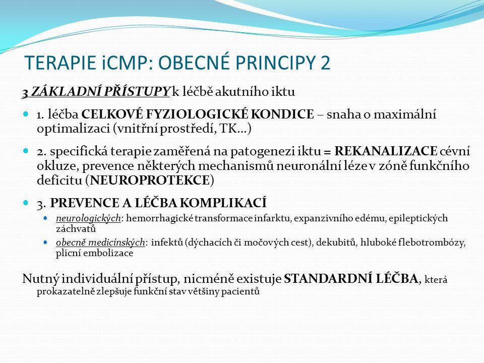 TERAPIE iCMP: OBECNÉ PRINCIPY 2 3 ZÁKLADNÍ PŘÍSTUPY k léčbě akutního iktu 1. léčba CELKOVÉ FYZIOLOGICKÉ KONDICE – snaha o maximální optimalizaci (vnit