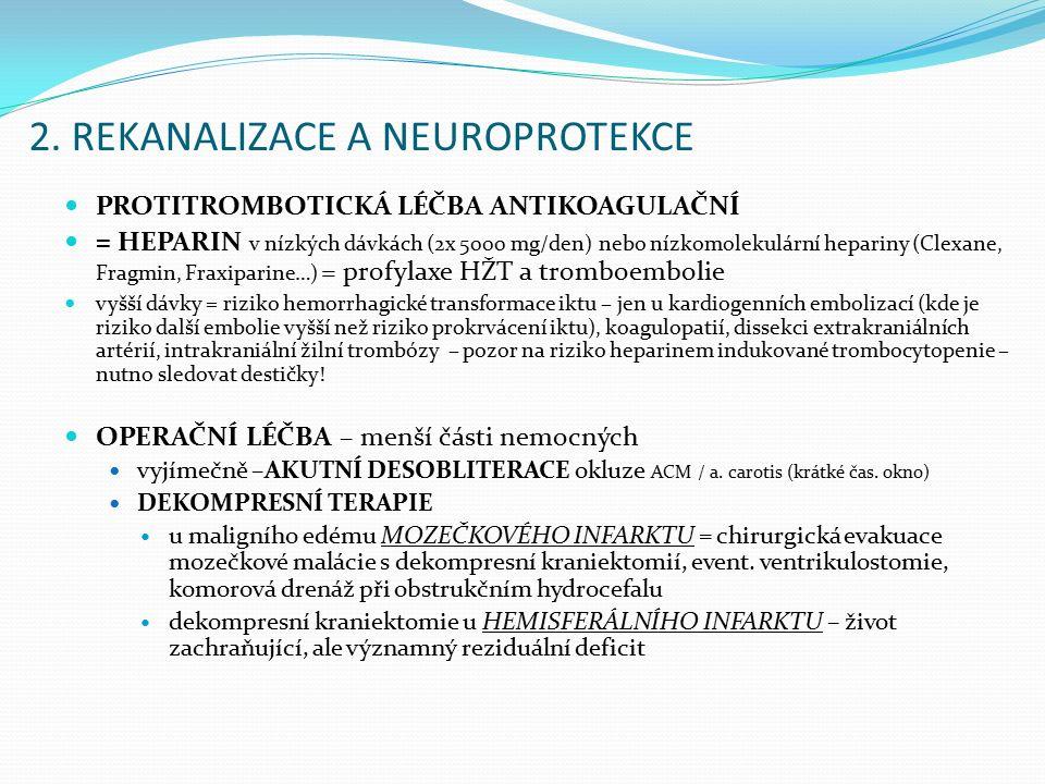 2. REKANALIZACE A NEUROPROTEKCE PROTITROMBOTICKÁ LÉČBA ANTIKOAGULAČNÍ = HEPARIN v nízkých dávkách (2x 5000 mg/den) nebo nízkomolekulární hepariny (Cle