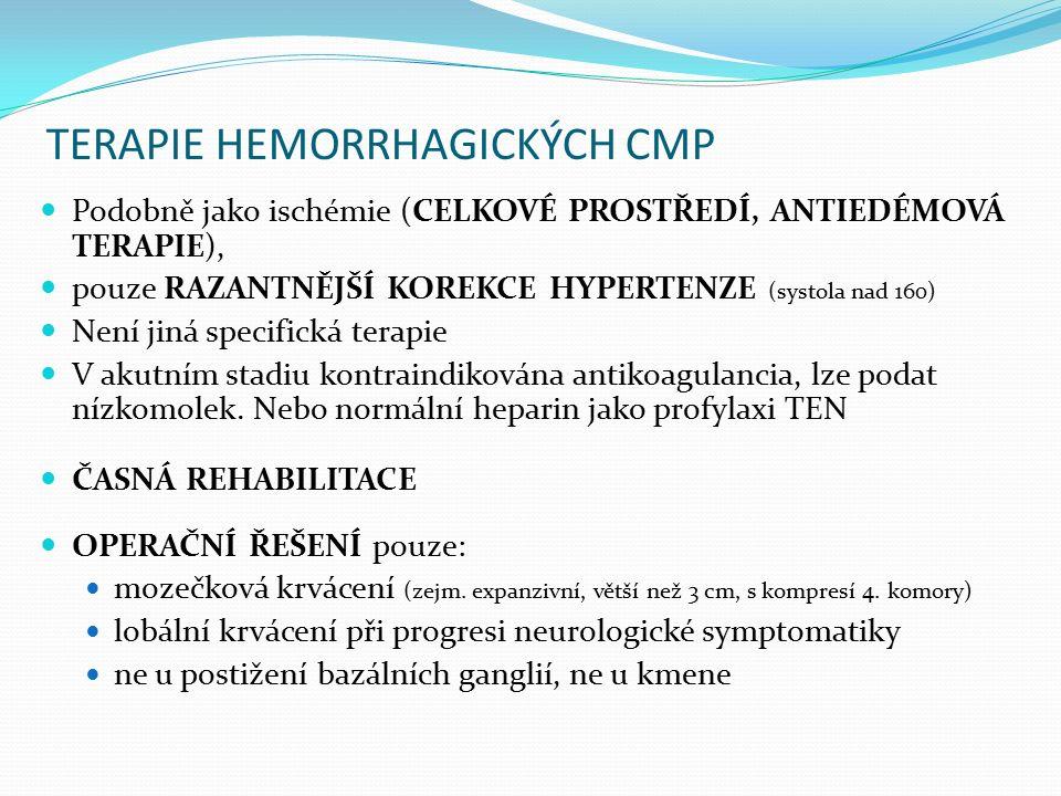 TERAPIE HEMORRHAGICKÝCH CMP Podobně jako ischémie (CELKOVÉ PROSTŘEDÍ, ANTIEDÉMOVÁ TERAPIE), pouze RAZANTNĚJŠÍ KOREKCE HYPERTENZE (systola nad 160) Není jiná specifická terapie V akutním stadiu kontraindikována antikoagulancia, lze podat nízkomolek.