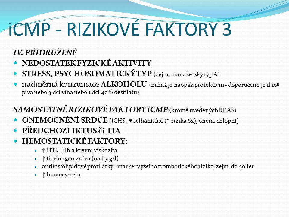 iCMP - RIZIKOVÉ FAKTORY 3 IV. PŘIDRUŽENÉ NEDOSTATEK FYZICKÉ AKTIVITY STRESS, PSYCHOSOMATICKÝ TYP (zejm. manažerský typ A) nadměrná konzumace ALKOHOLU