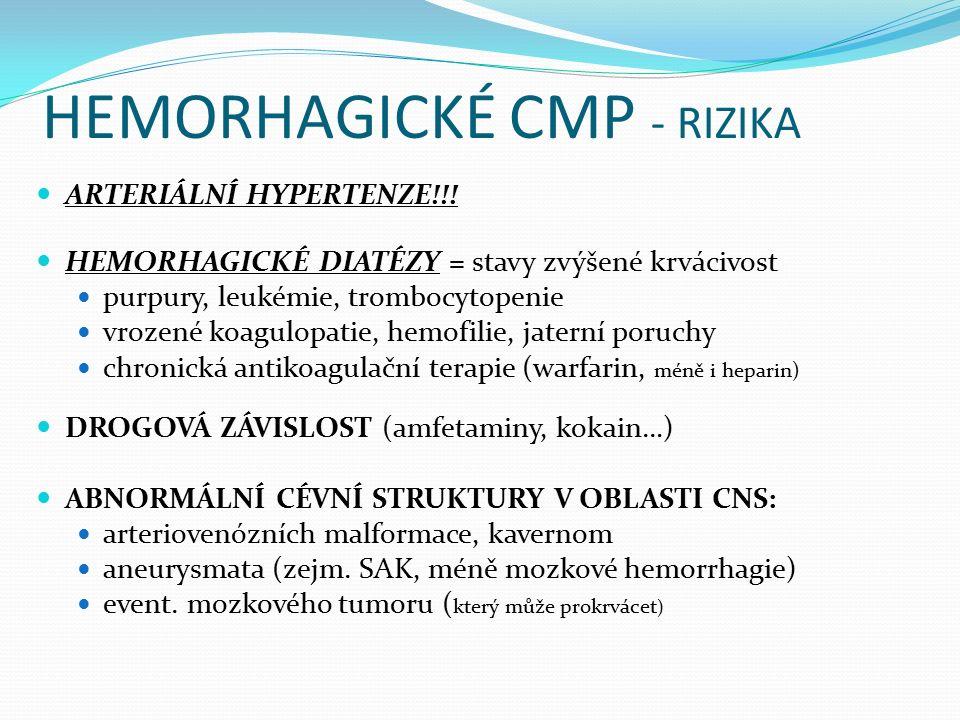 HEMORHAGICKÉ CMP - RIZIKA ARTERIÁLNÍ HYPERTENZE!!! HEMORHAGICKÉ DIATÉZY = stavy zvýšené krvácivost purpury, leukémie, trombocytopenie vrozené koagulop