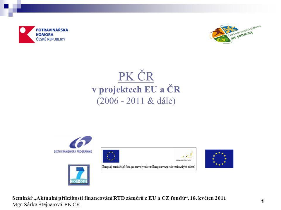 """1 PK ČR v projektech EU a ČR (2006 - 2011 & dále) Seminář """"Aktuální příležitosti financování RTD záměrů z EU a CZ fondů , 18."""