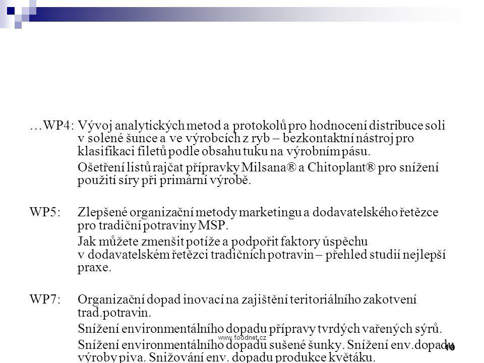 10 www.foodnet.cz …WP4: Vývoj analytických metod a protokolů pro hodnocení distribuce soli v solené šunce a ve výrobcích z ryb – bezkontaktní nástroj pro klasifikaci filetů podle obsahu tuku na výrobním pásu.