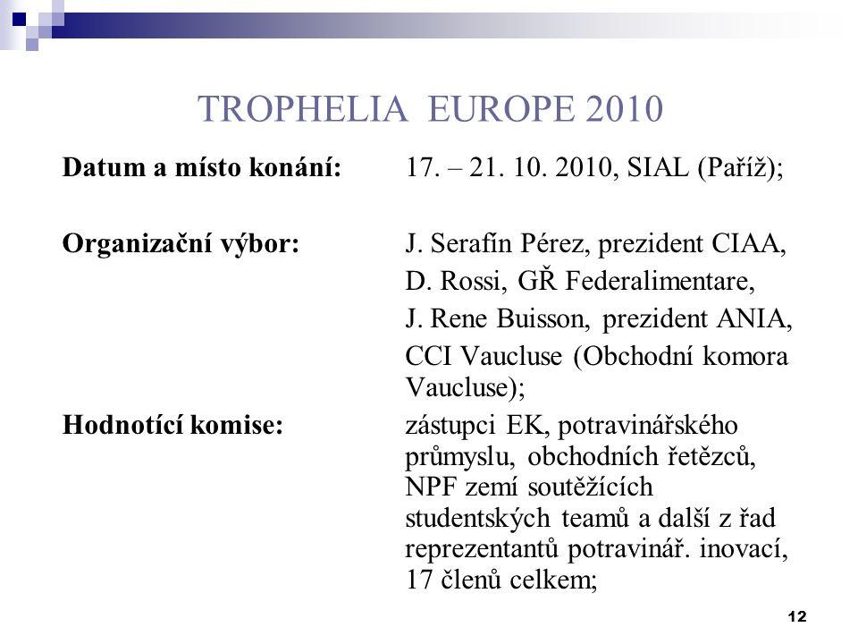 12 TROPHELIA EUROPE 2010 Datum a místo konání: 17.