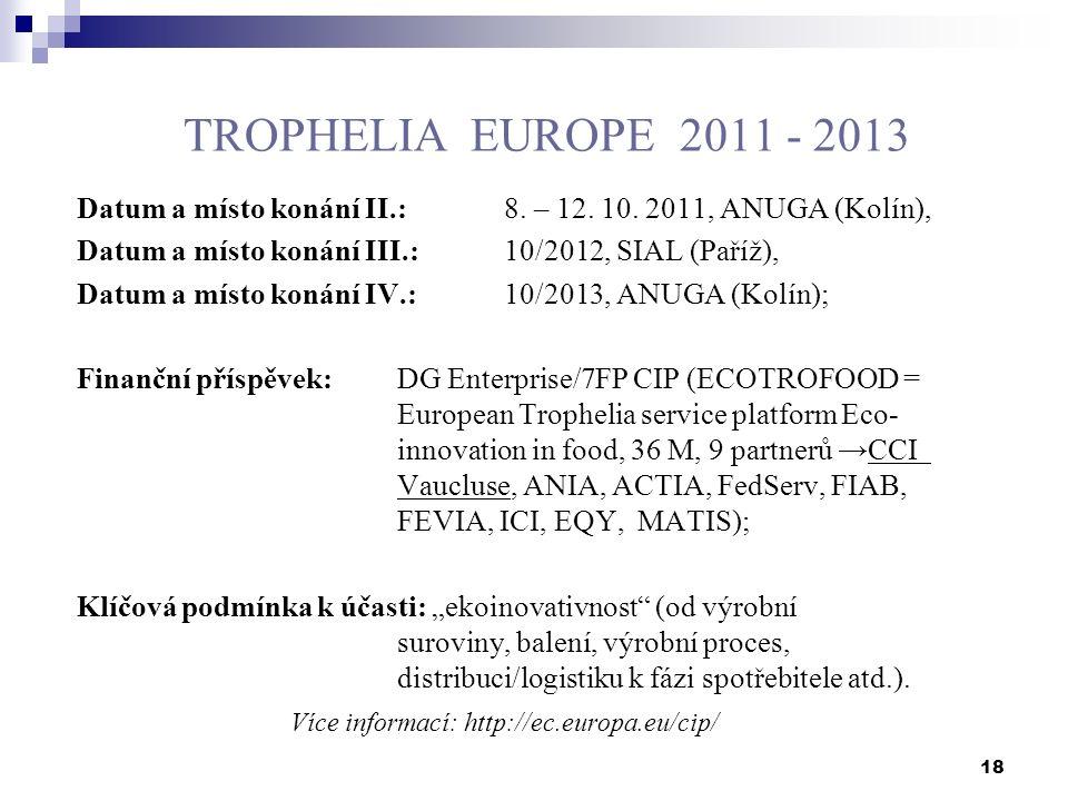 18 TROPHELIA EUROPE 2011 - 2013 Datum a místo konání II.:8. – 12. 10. 2011, ANUGA (Kolín), Datum a místo konání III.:10/2012, SIAL (Paříž), Datum a mí