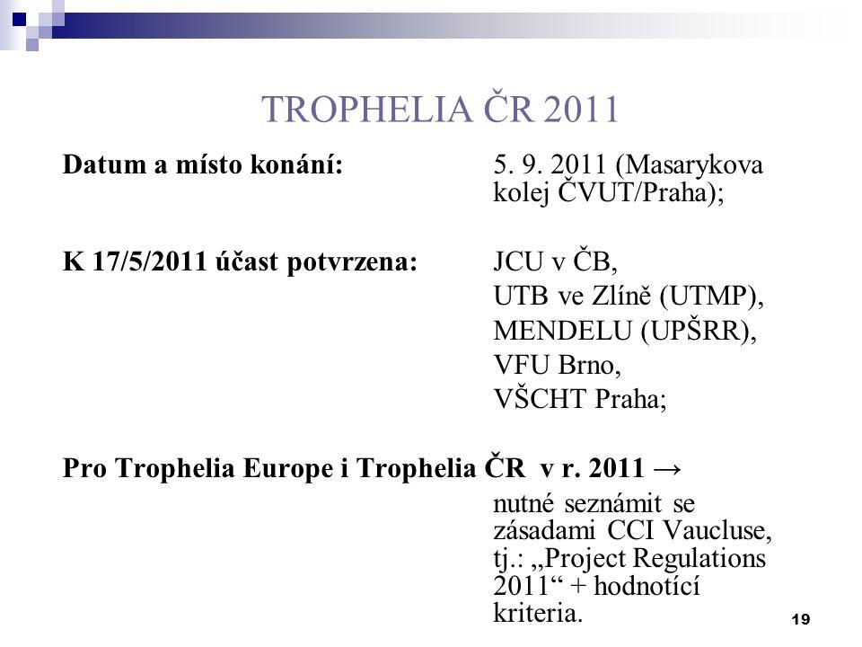 19 TROPHELIA ČR 2011 Datum a místo konání:5. 9. 2011 (Masarykova kolej ČVUT/Praha); K 17/5/2011 účast potvrzena:JCU v ČB, UTB ve Zlíně (UTMP), MENDELU