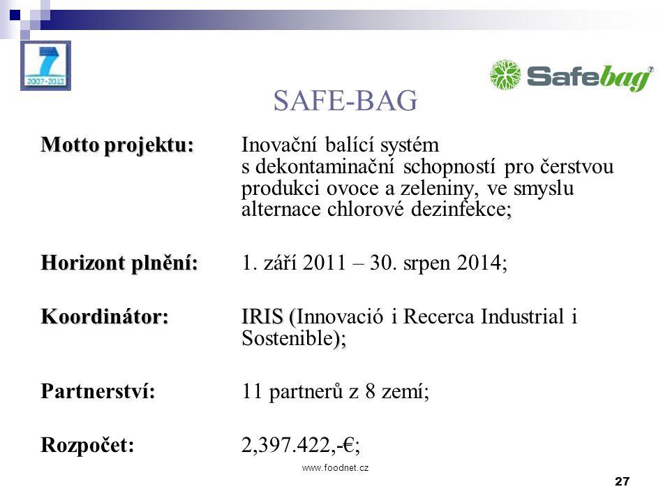 27 www.foodnet.cz SAFE-BAG Motto projektu: ; Motto projektu: Inovační balící systém s dekontaminační schopností pro čerstvou produkci ovoce a zeleniny, ve smyslu alternace chlorové dezinfekce; Horizont plnění: Horizont plnění: 1.