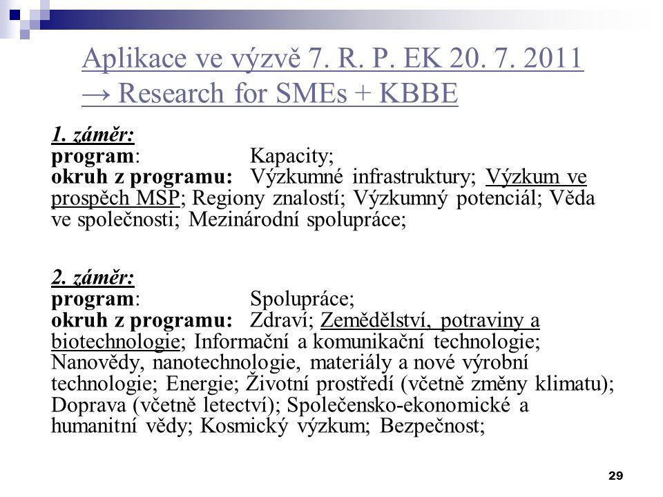 29 Aplikace ve výzvě 7. R. P. EK 20. 7. 2011 → Research for SMEs + KBBE 1. záměr: program: Kapacity; okruh z programu: Výzkumné infrastruktury; Výzkum