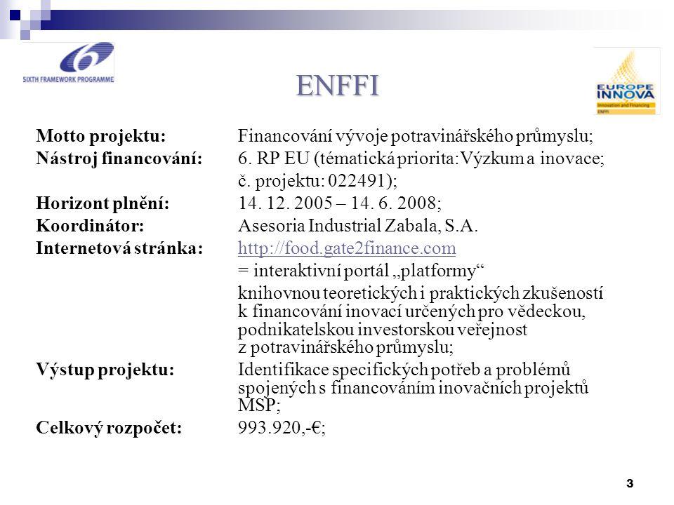 3 ENFFI Motto projektu: Financování vývoje potravinářského průmyslu; Nástroj financování: 6. RP EU (tématická priorita:Výzkum a inovace; č. projektu:
