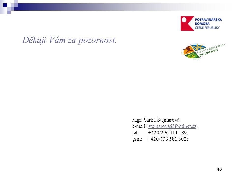 40 Děkuji Vám za pozornost. Mgr. Šárka Štejnarová: e-mail: stejnarova@foodnet.cz,stejnarova@foodnet.cz tel.: +420/296 411 189, gsm: +420/733 581 302;