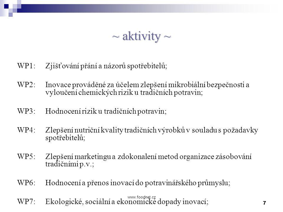 7 www.foodnet.cz ~ aktivity ~ WP1: Zjišťování přání a názorů spotřebitelů; WP2: Inovace prováděné za účelem zlepšení mikrobiální bezpečnosti a vylouče