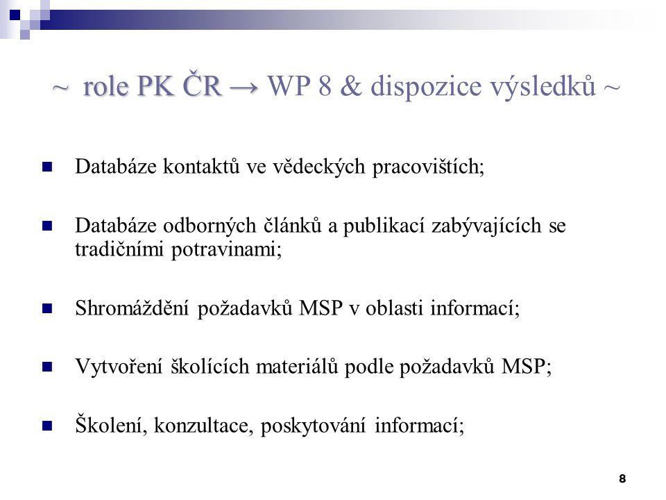 8 ~ role PK ČR → ~ role PK ČR → WP 8 & dispozice výsledků ~ Databáze kontaktů ve vědeckých pracovištích; Databáze odborných článků a publikací zabývajících se tradičními potravinami; Shromáždění požadavků MSP v oblasti informací; Vytvoření školících materiálů podle požadavků MSP; Školení, konzultace, poskytování informací;