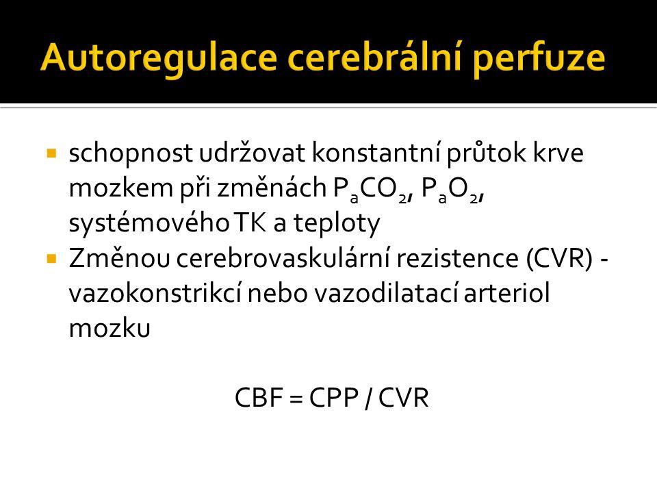  schopnost udržovat konstantní průtok krve mozkem při změnách P a CO 2, P a O 2, systémového TK a teploty  Změnou cerebrovaskulární rezistence (CVR) - vazokonstrikcí nebo vazodilatací arteriol mozku CBF = CPP / CVR