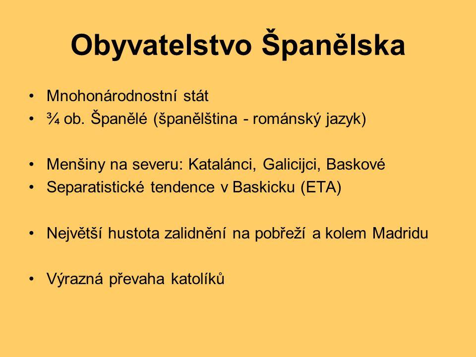 Obyvatelstvo Španělska Mnohonárodnostní stát ¾ ob.