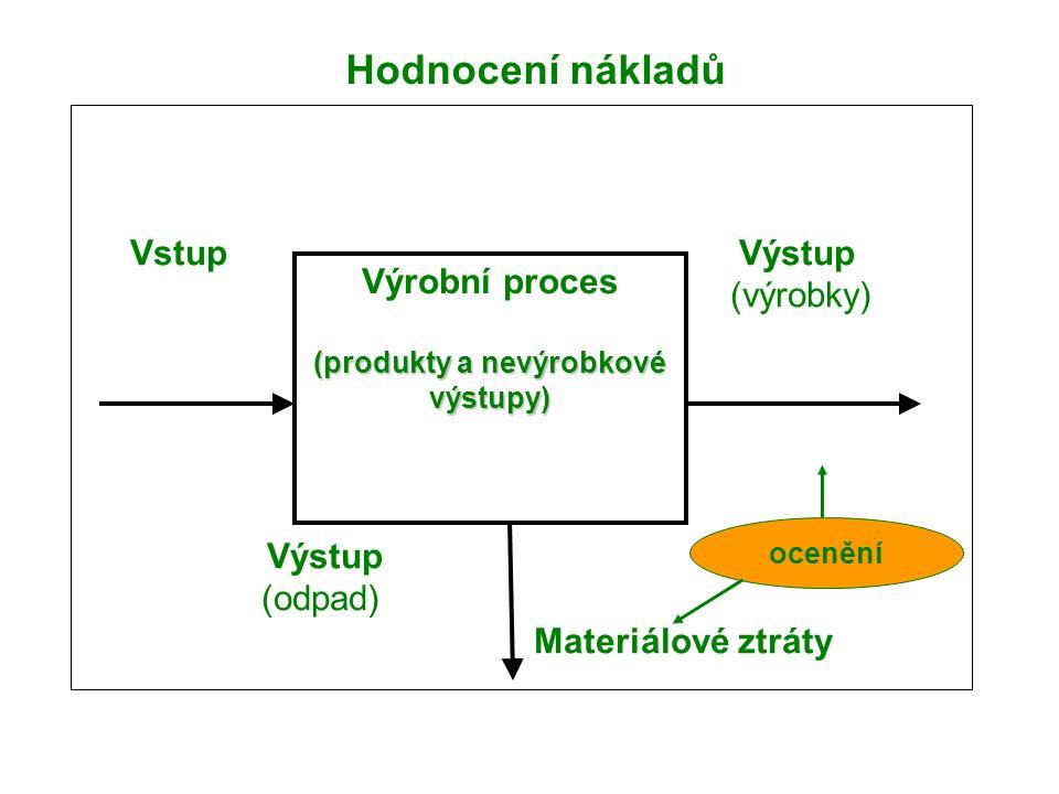 Vstup Výstup (výrobky) Výstup (odpad) Materiálové ztráty Výrobní proces (produkty a nevýrobkové výstupy) Hodnocení nákladů ocenění