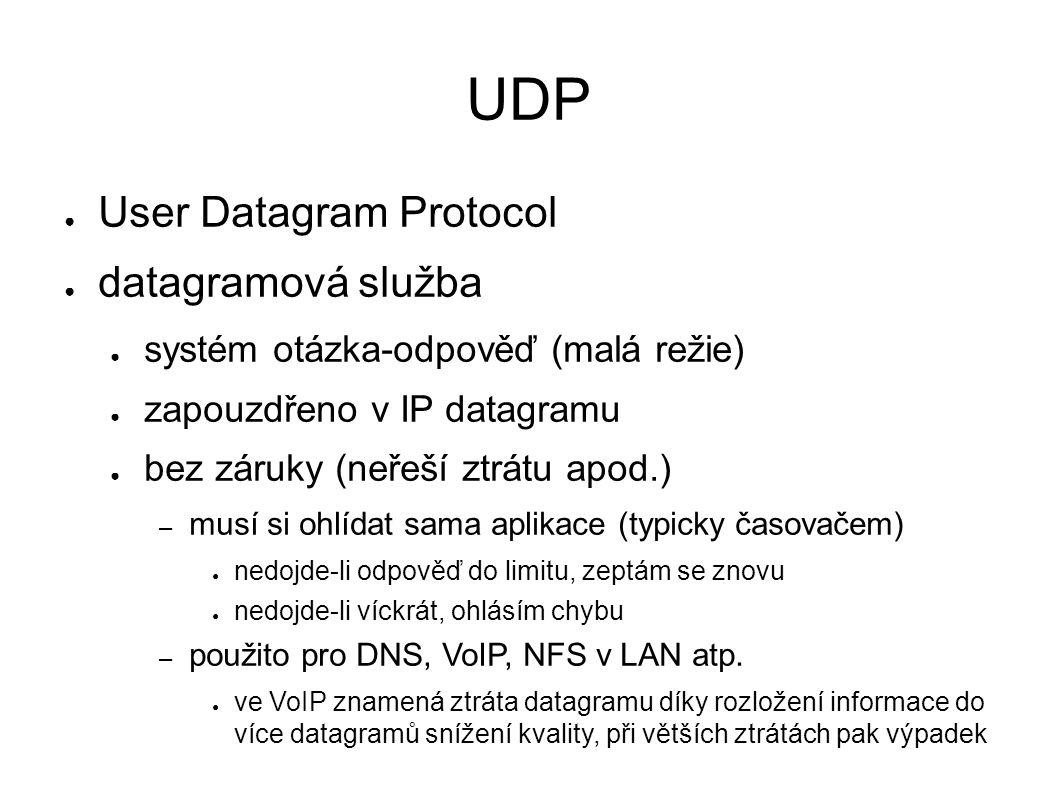 UDP ● User Datagram Protocol ● datagramová služba ● systém otázka-odpověď (malá režie) ● zapouzdřeno v IP datagramu ● bez záruky (neřeší ztrátu apod.) – musí si ohlídat sama aplikace (typicky časovačem) ● nedojde-li odpověď do limitu, zeptám se znovu ● nedojde-li víckrát, ohlásím chybu – použito pro DNS, VoIP, NFS v LAN atp.