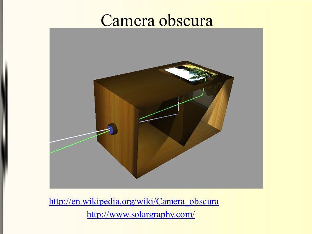 Camera obscura http://en.wikipedia.org/wiki/Camera_obscura http://www.solargraphy.com/