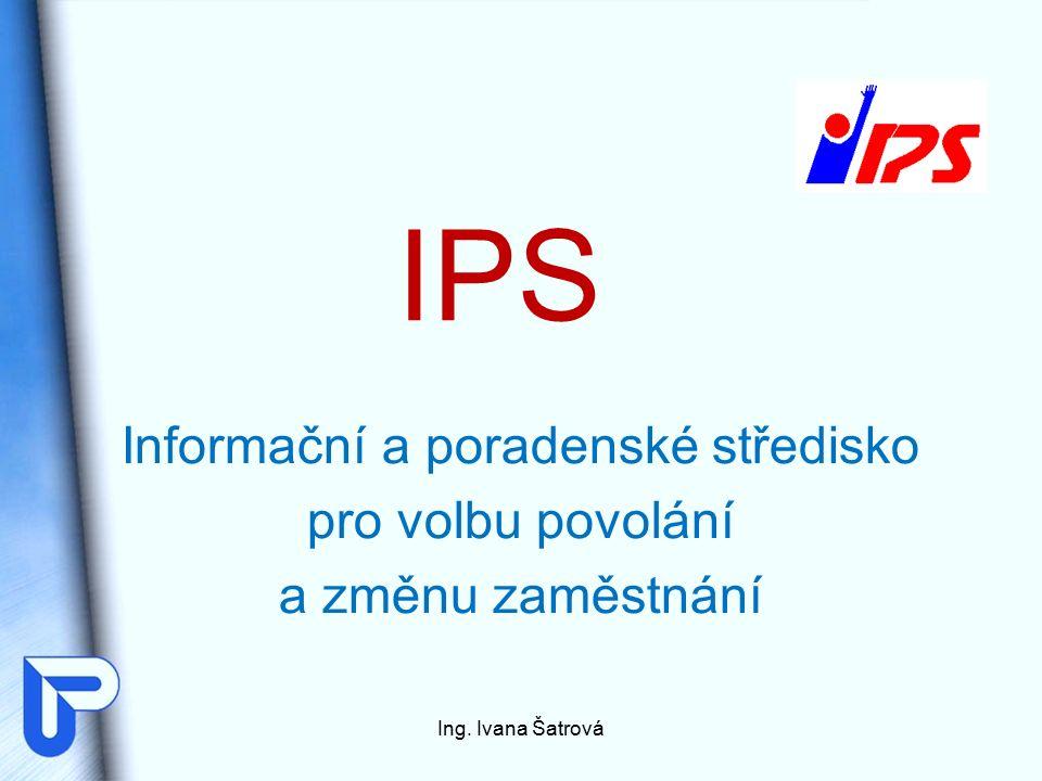 IPS Informační a poradenské středisko pro volbu povolání a změnu zaměstnání Ing. Ivana Šatrová