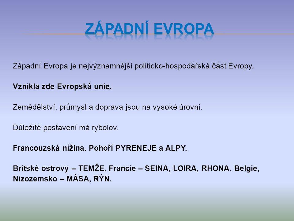 Západní Evropa je nejvýznamnější politicko-hospodářská část Evropy.