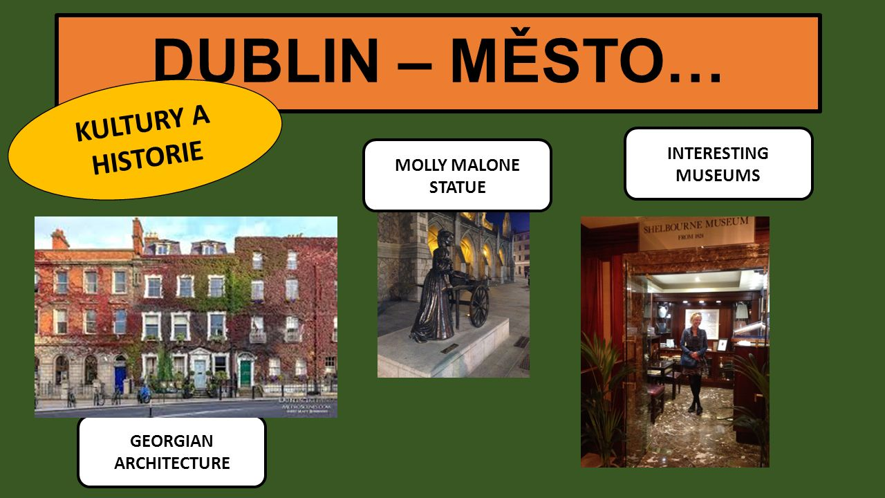 DUBLIN – MĚSTO… KULTURY A HISTORIE GEORGIAN ARCHITECTURE MOLLY MALONE STATUE INTERESTING MUSEUMS