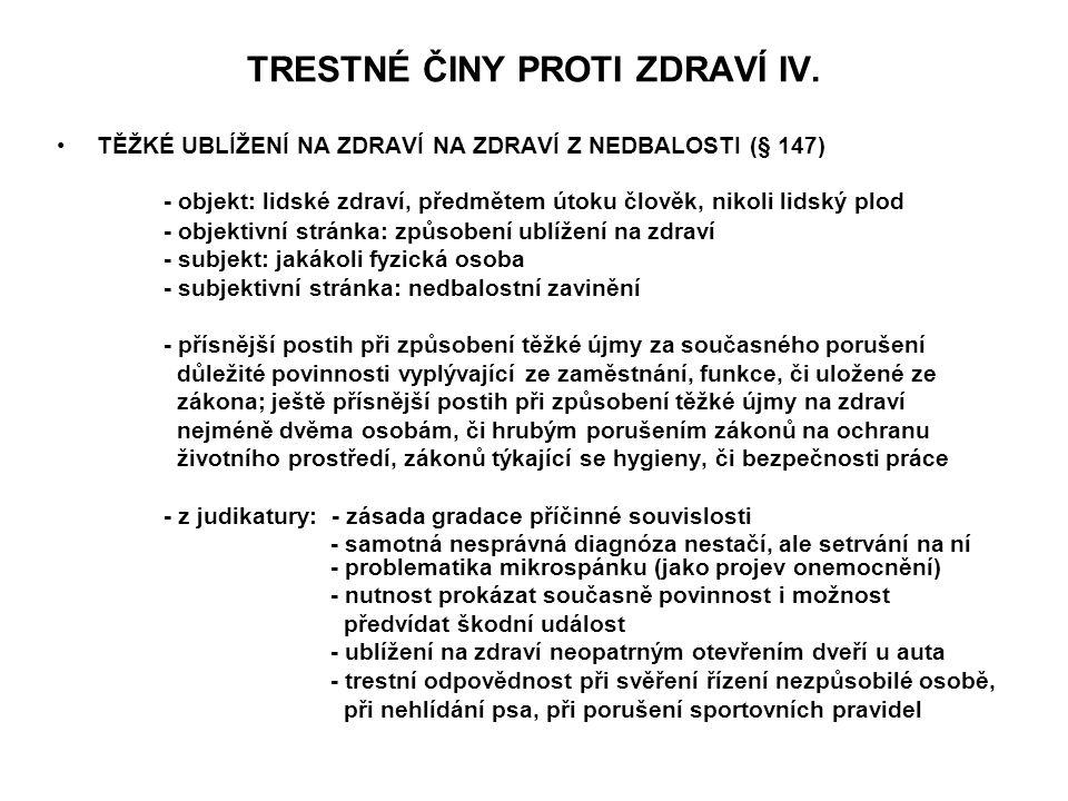 TRESTNÉ ČINY PROTI ZDRAVÍ IV.