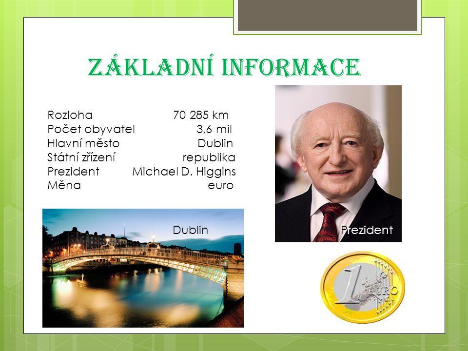 Základní informace Rozloha 70 285 km Počet obyvatel 3,6 mil Hlavní město Dublin Státní zřízení republika Prezident Michael D.