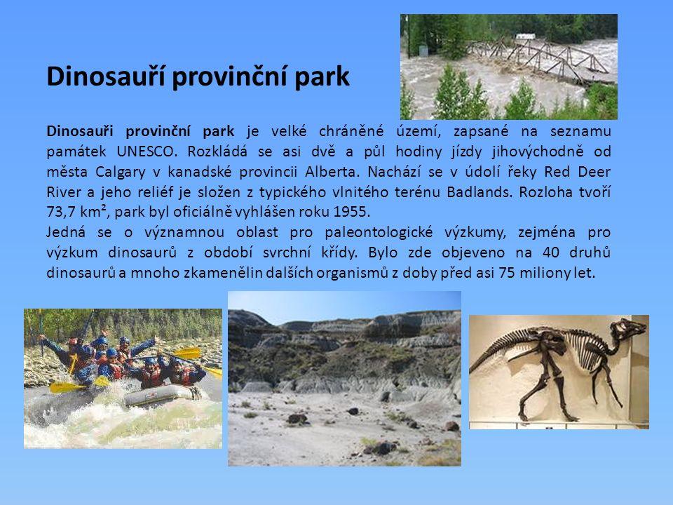Dinosauři provinční park je velké chráněné území, zapsané na seznamu památek UNESCO.