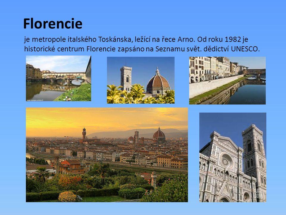 Florencie je metropole italského Toskánska, ležící na řece Arno. Od roku 1982 je historické centrum Florencie zapsáno na Seznamu svět. dědictví UNESCO