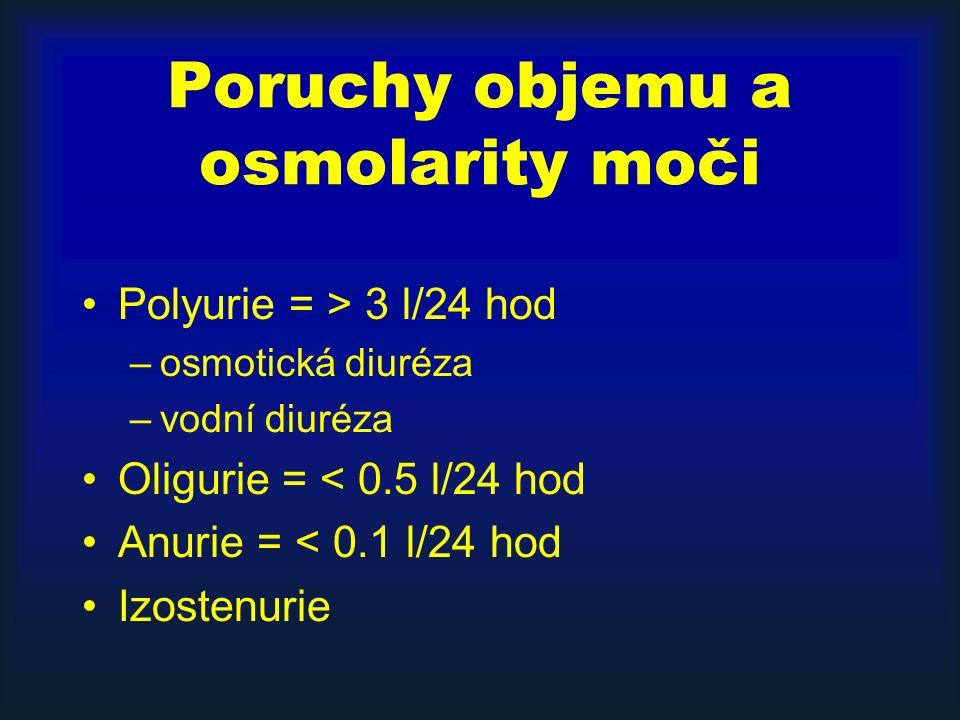 Poruchy objemu a osmolarity moči Polyurie = > 3 l/24 hod –osmotická diuréza –vodní diuréza Oligurie = < 0.5 l/24 hod Anurie = < 0.1 l/24 hod Izostenurie