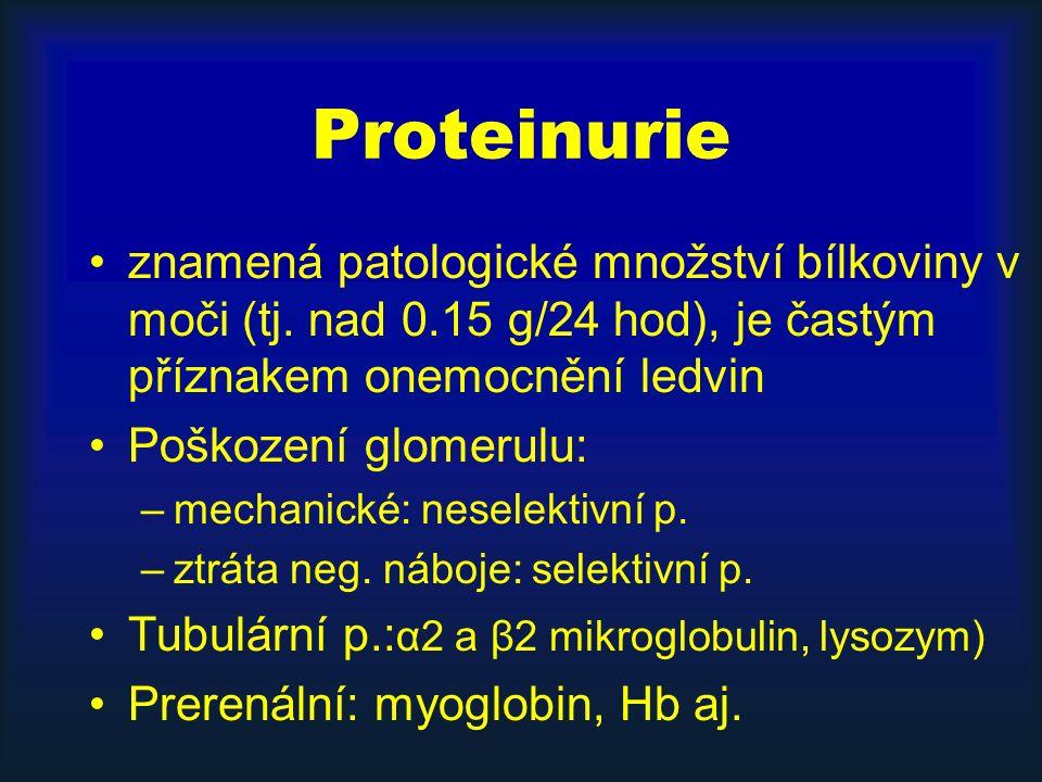 Proteinurie znamená patologické množství bílkoviny v moči (tj.
